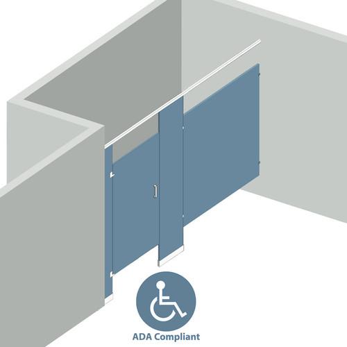 Bathroom Partitions - 1 Stall Alcove Left Hand ADA - 1 Stall ADA