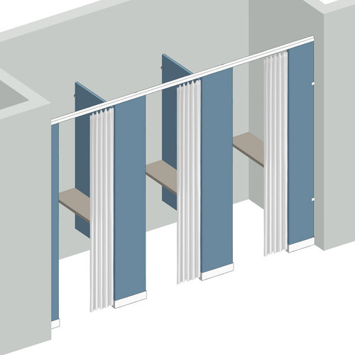 Dressing Compartment - Between Wall - Right Hand - 3 Stall Curtains