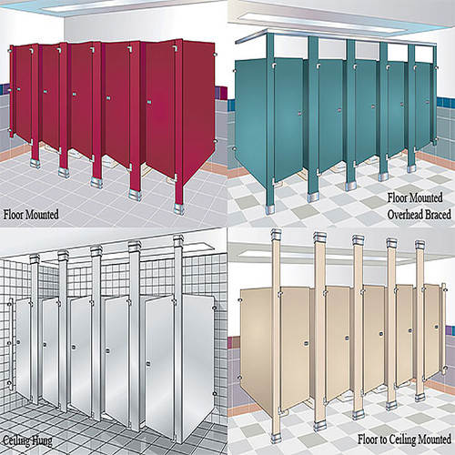 Baked Enamel Powder Coated Steel Toilet Compartment Pilaster Harbor City Supply