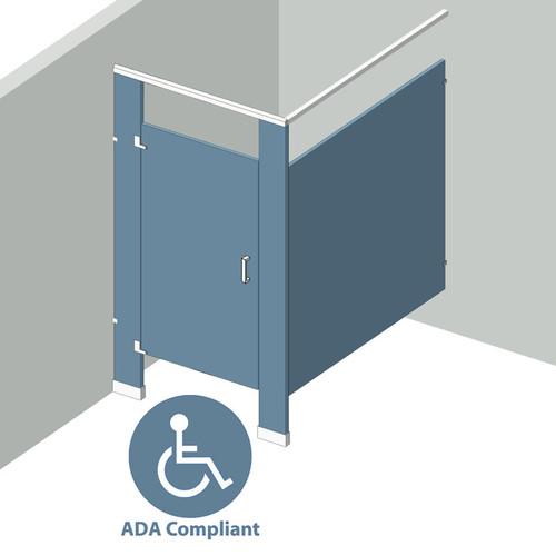 Bathroom Partitions - 1 Stall In Corner Left Hand ADA