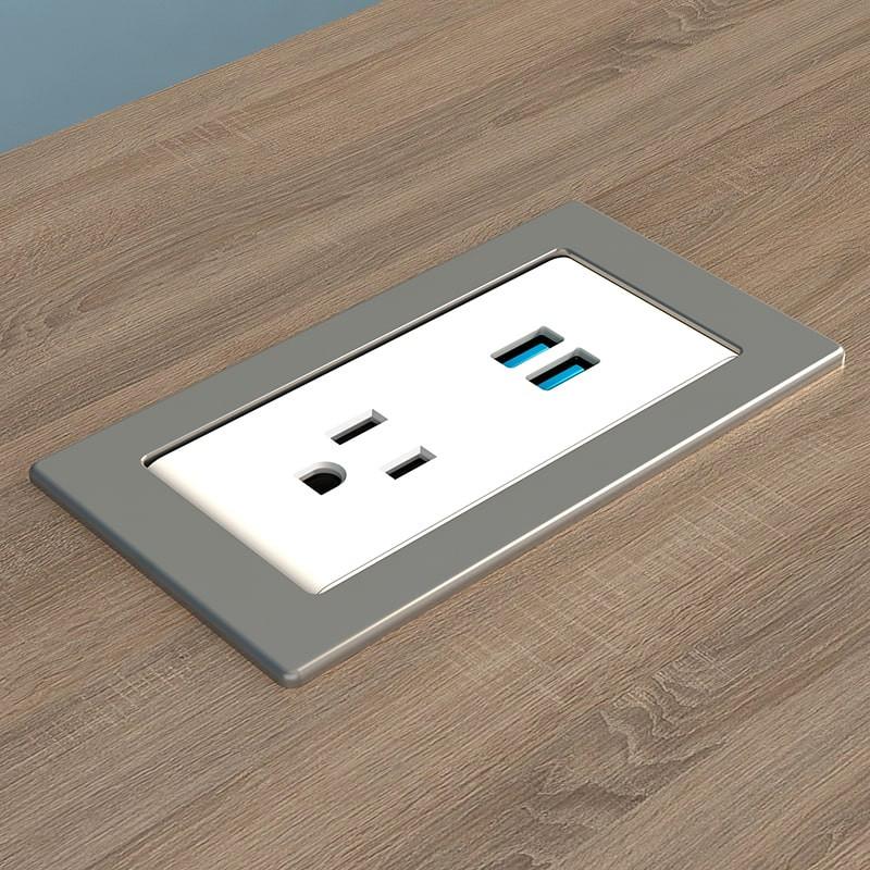 Ashley Uno Surface Mount Plastic Grommet - 1 Power plus 2 USB