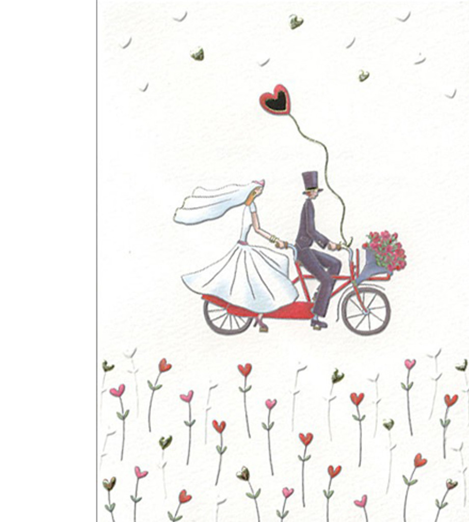 Wedding Bride and Groom on Bicycle