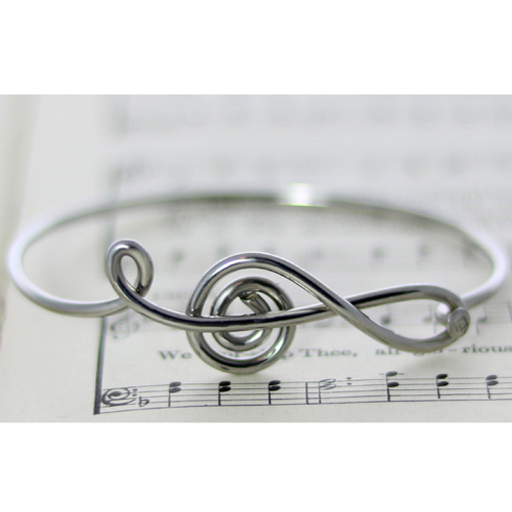 Bent Spoke Bracelet Treble Clef