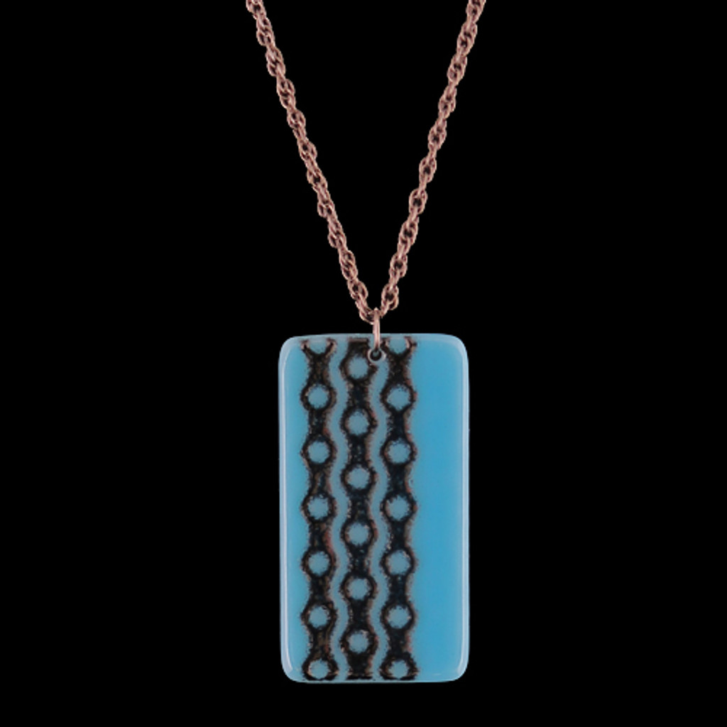Bike Chain Turquois Glass Pendant