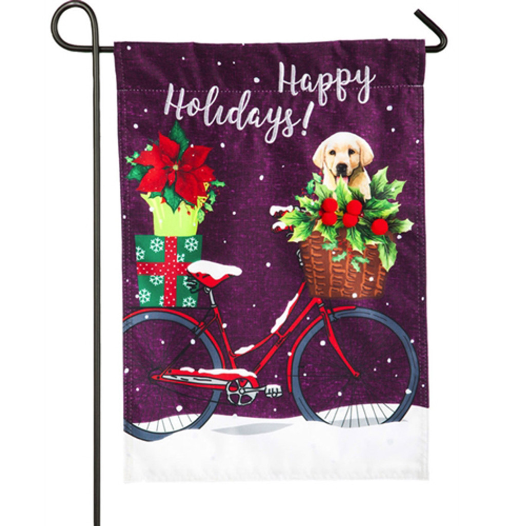 Happy Holidays Linen Bicycle Garden Flag