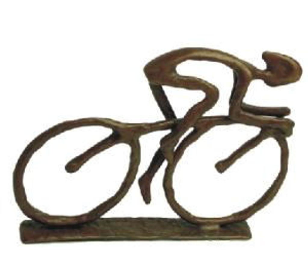 Small Bronze Cyclist Figurine