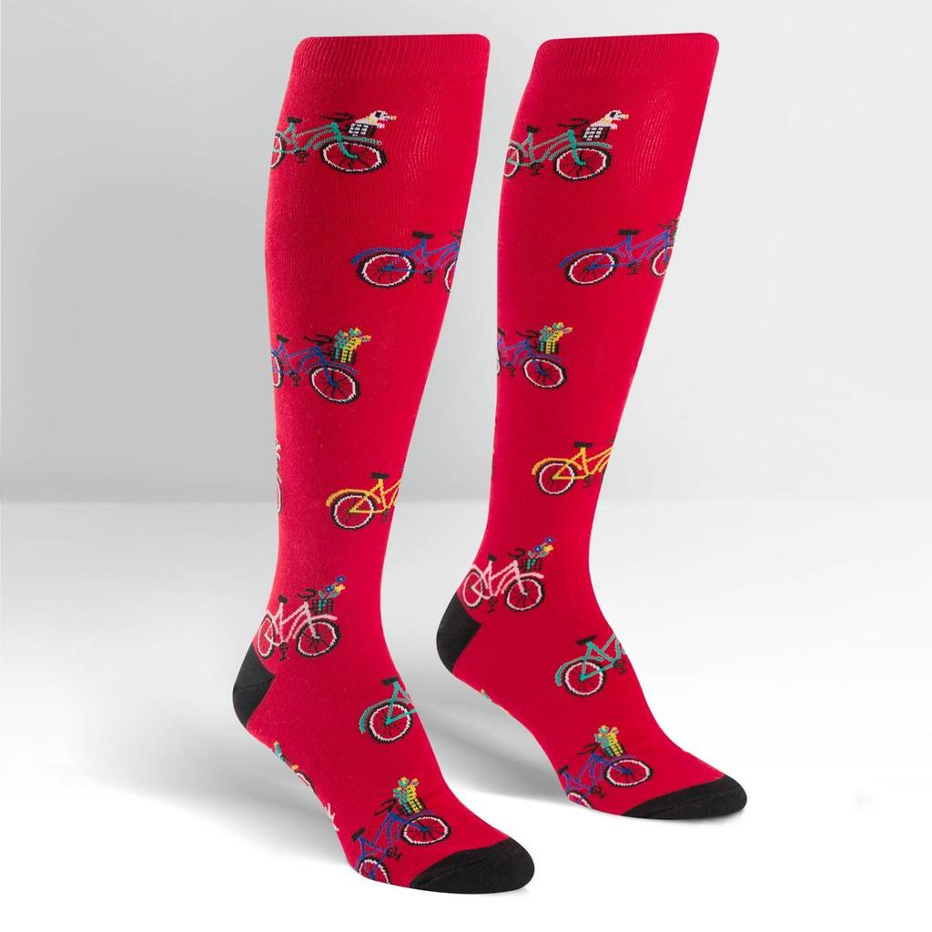 Women's Red Bicycle Knee High Socks