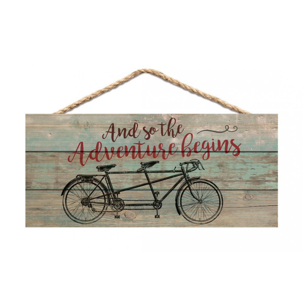 Adventure Begins Tandem Hanging Sign
