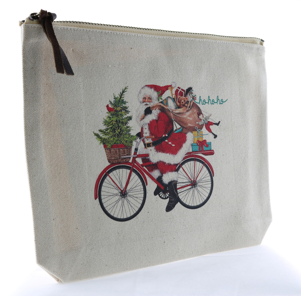 Santa on Bicycle Canvas Zipper Pouch