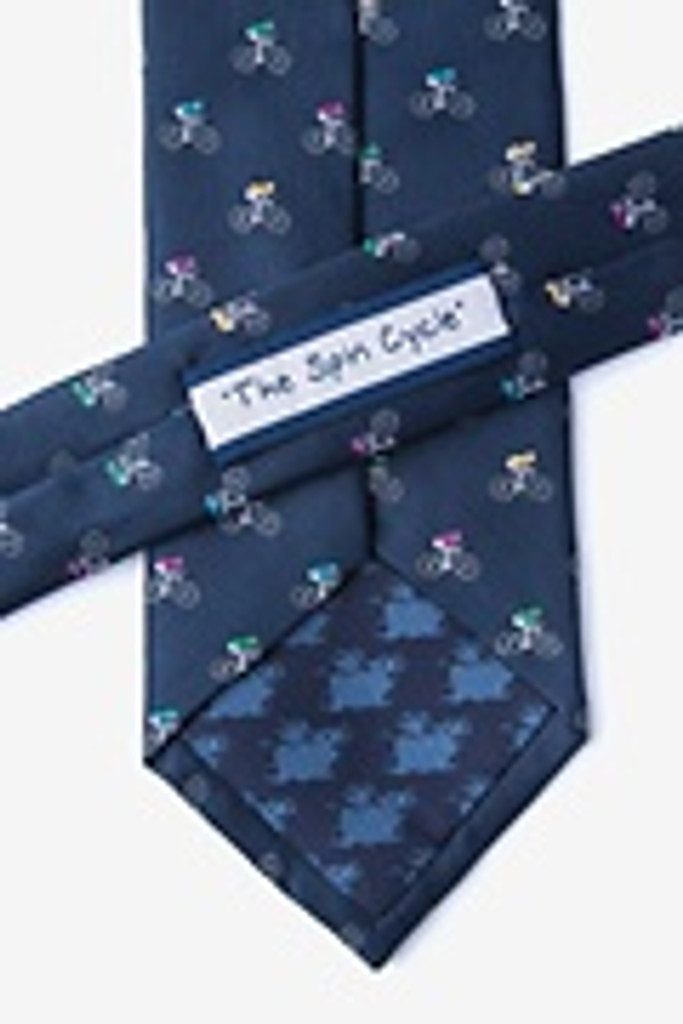 Navy Multicolor Silk Bicycle Tie