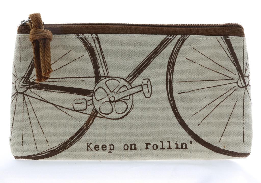 Brown Bike Zipper Pouch