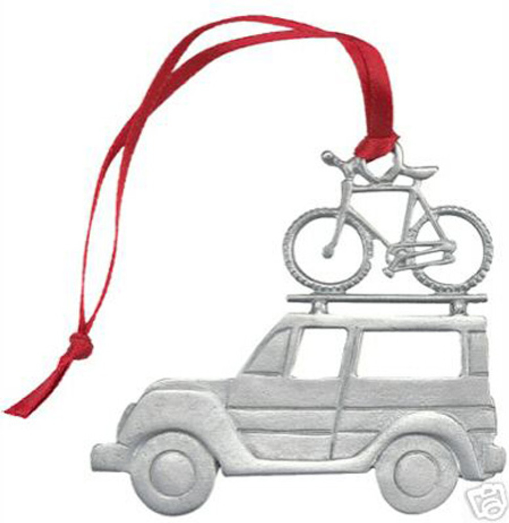 SUV with Bicycle Pewter Ornament