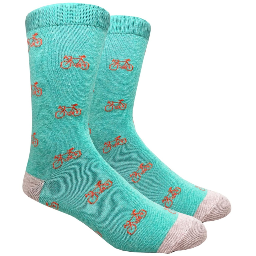 Light Teal with Orange Bicycle Sock