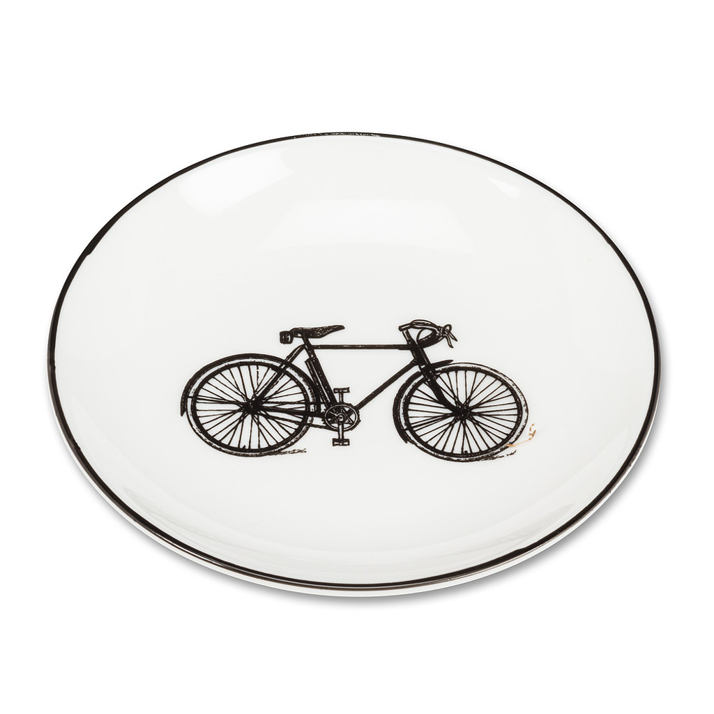 White and Black Bicycle Pin Dish
