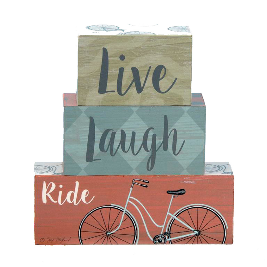 Live Laugh Ride Bicycle Block Sign