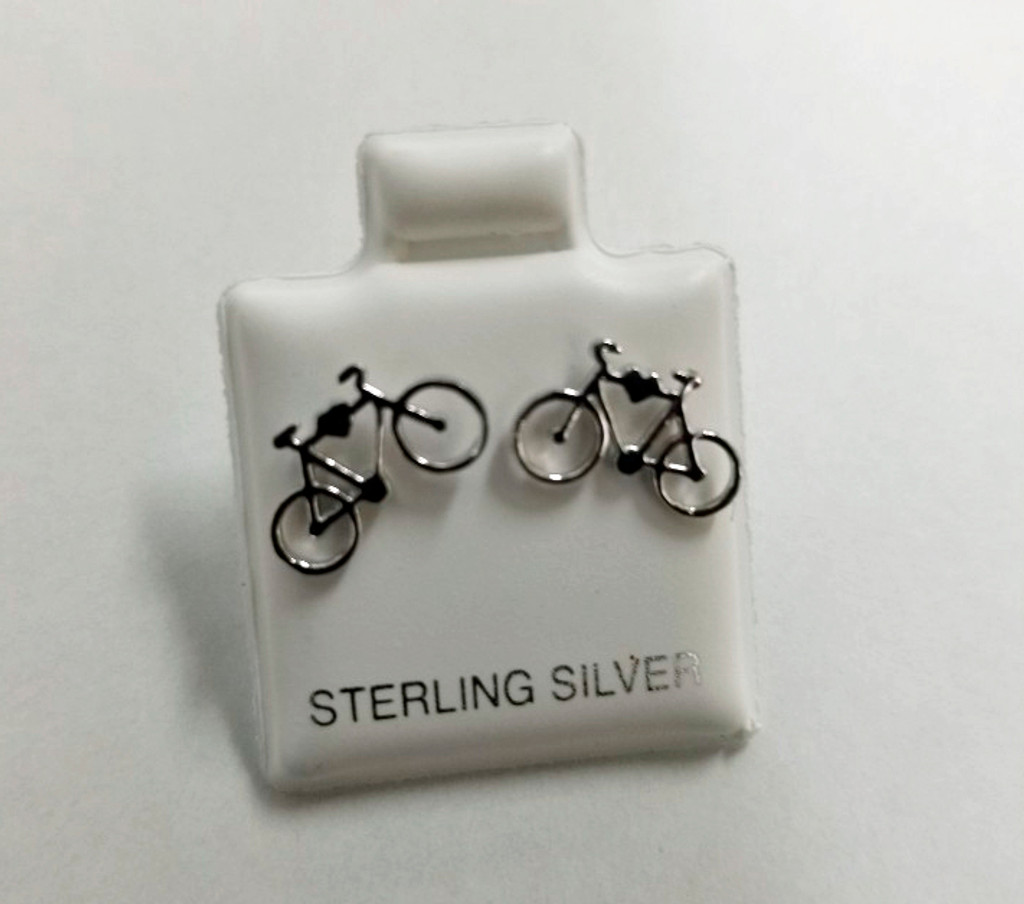 Bicycle Heart Sterling Post Earrings