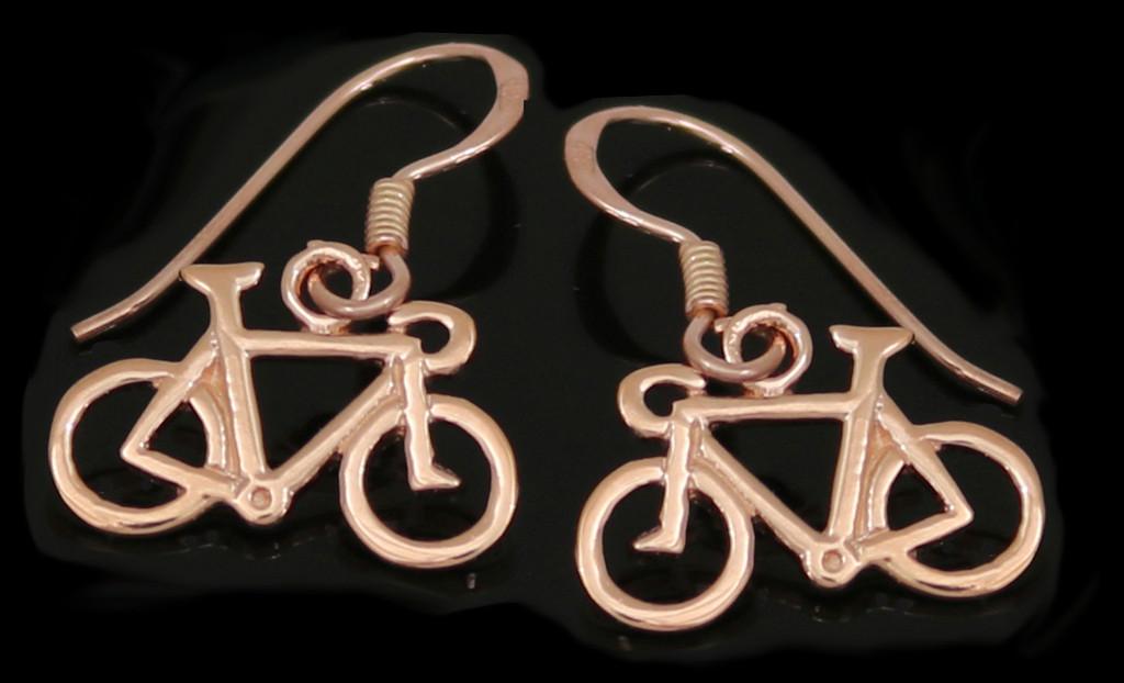 Rose Gold Road Bike Drop Earrings