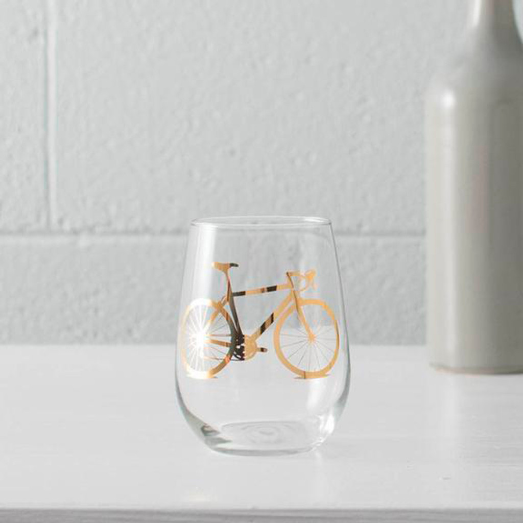 Bright Gold Road Bike Stemless Wine Glass Set