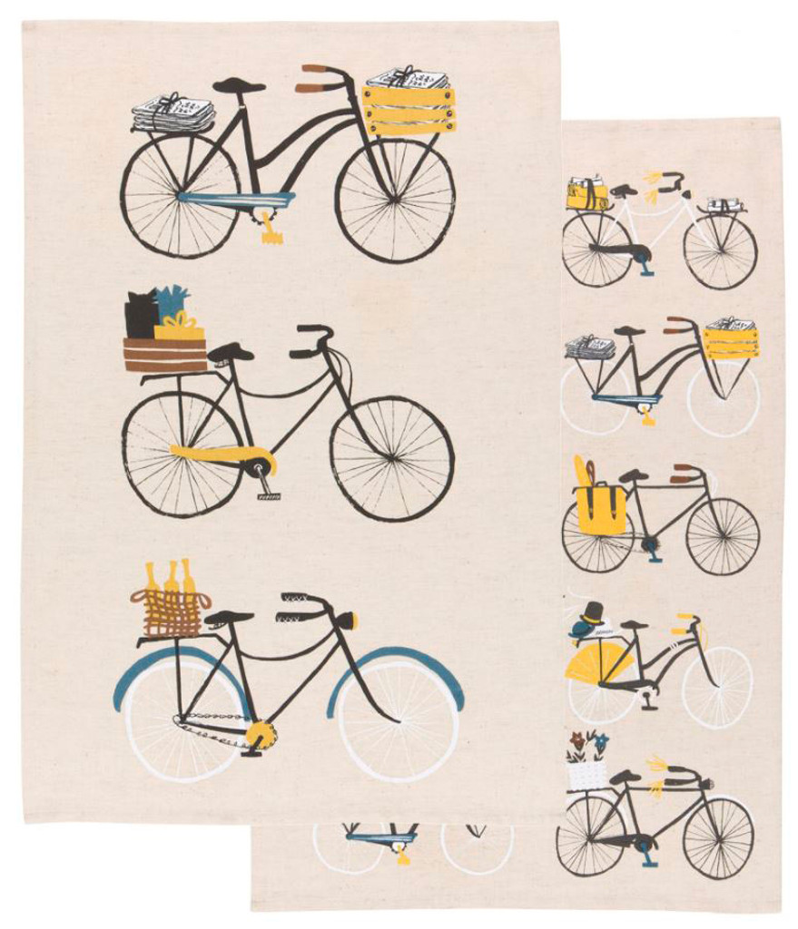 Bicycle  Cotton Linen Blend Dishtowel Set of 2