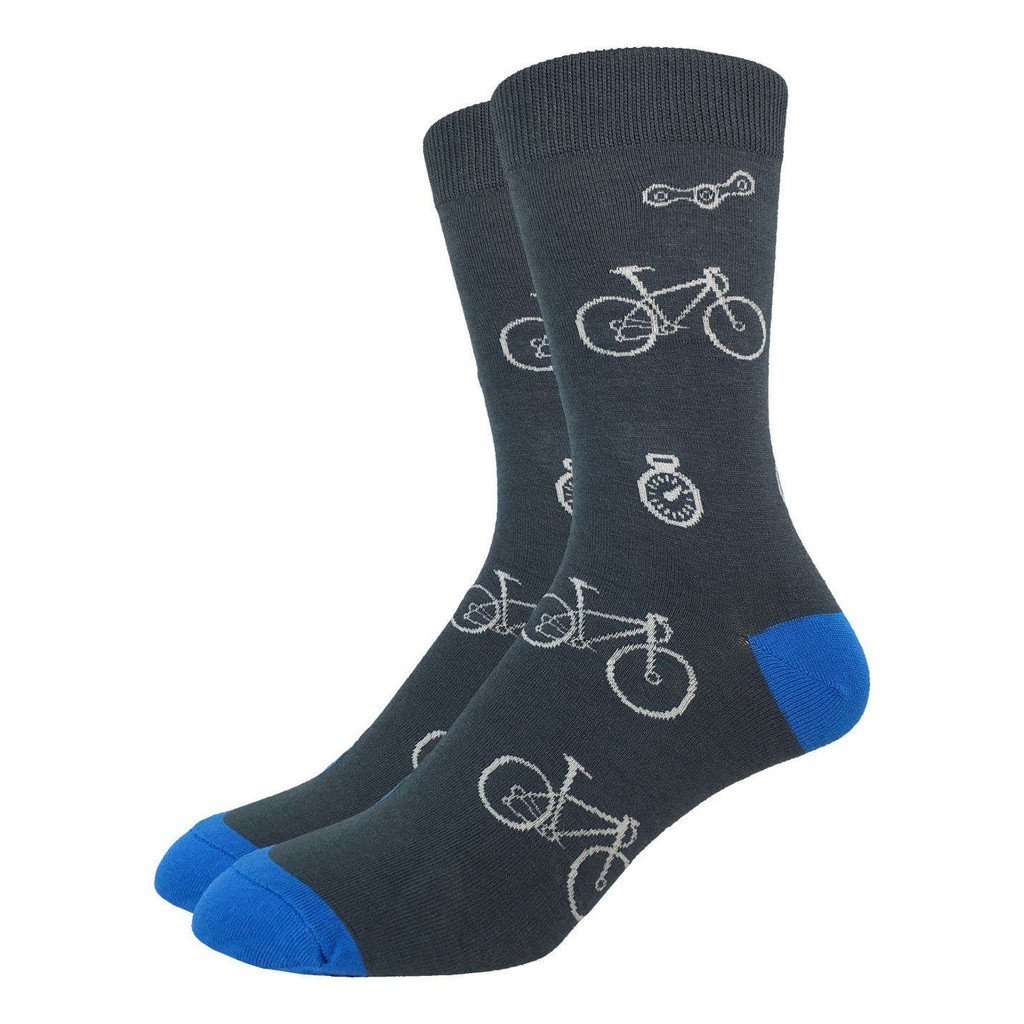 Grey White and Blue Bicycle Mens Socks