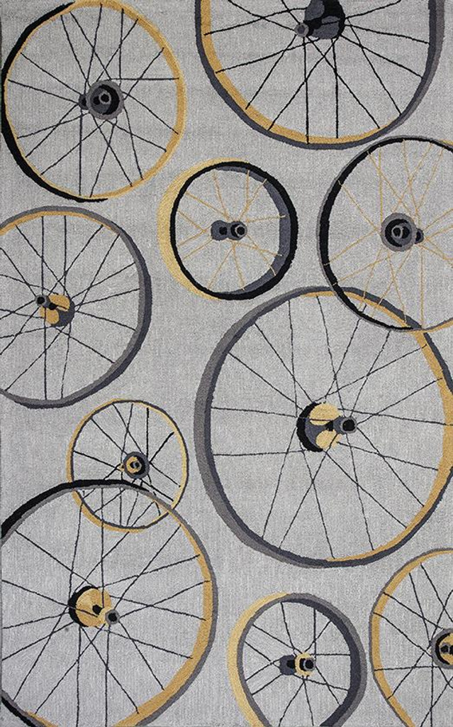 Grey Wheels In Motion Area Rug 8 x 10