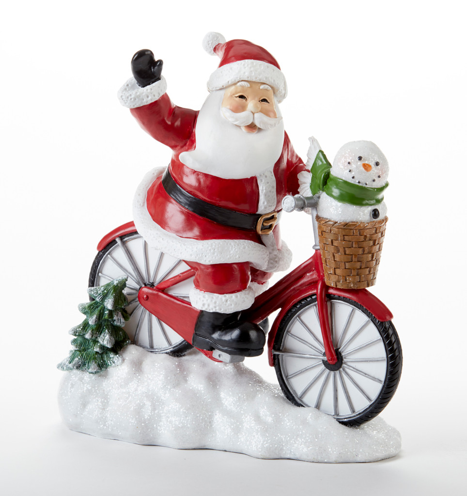 Cycling Santa Tabletop Figurine