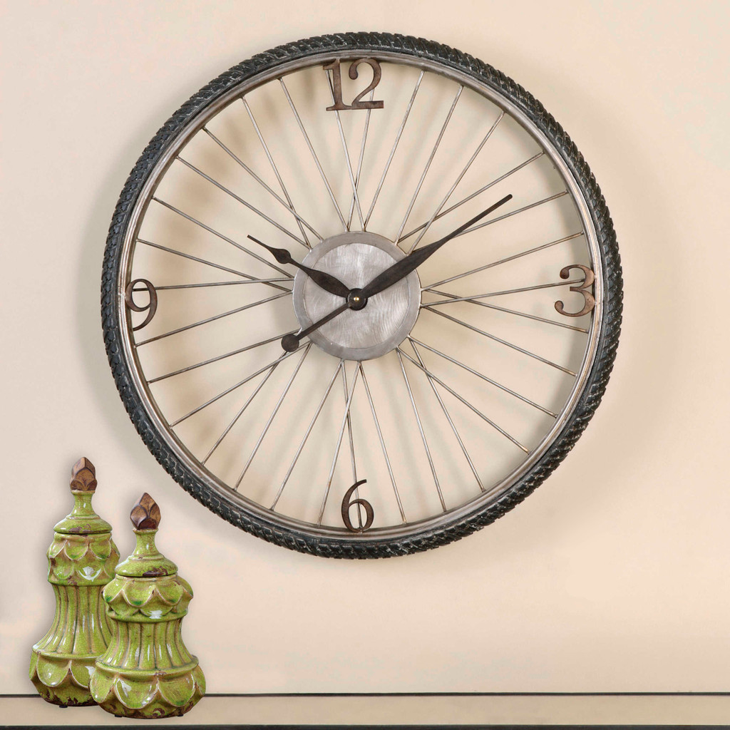 Antique Champagne Silver Bicycle Wall Clock