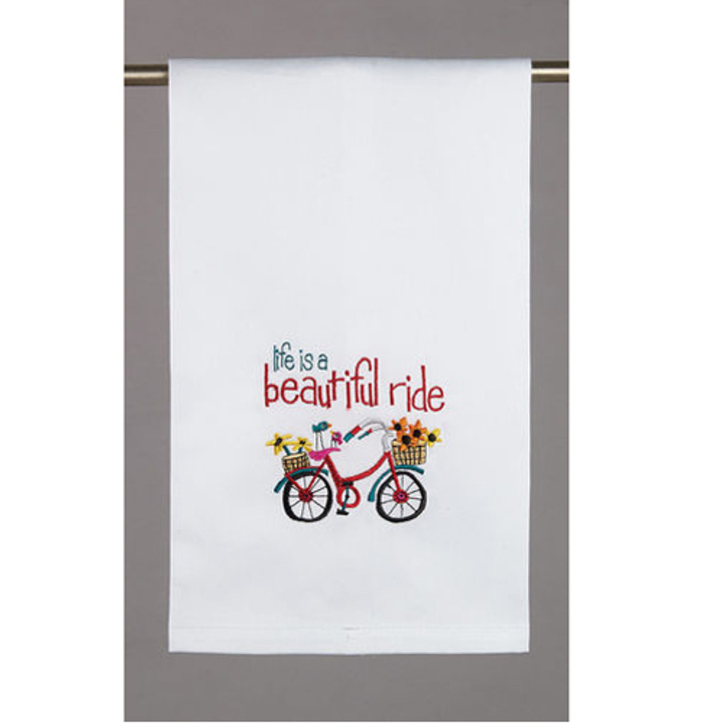 Beautiful Ride Embroidered Dishtowel
