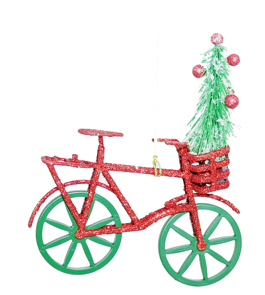 Green and Red Moving Christmas Bike