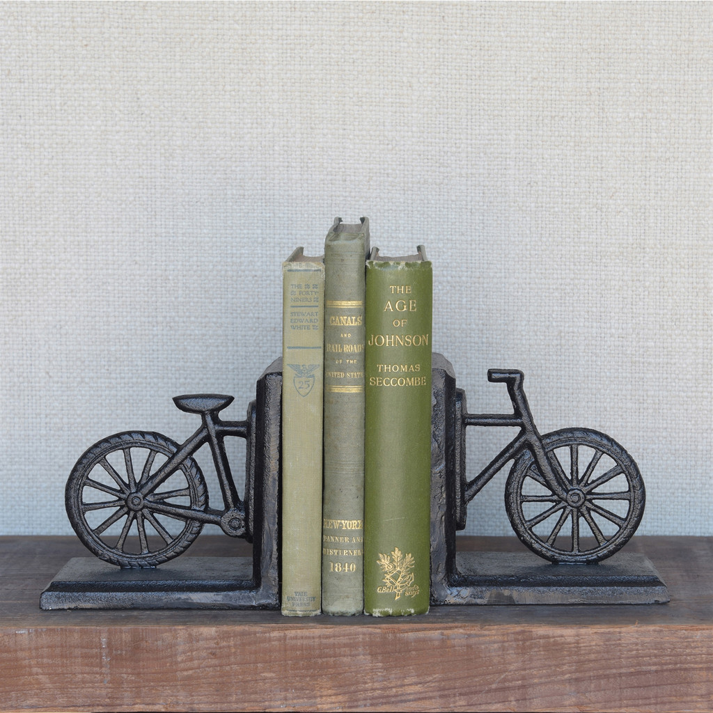 Decorative Cast Iron Bicycle Bookends