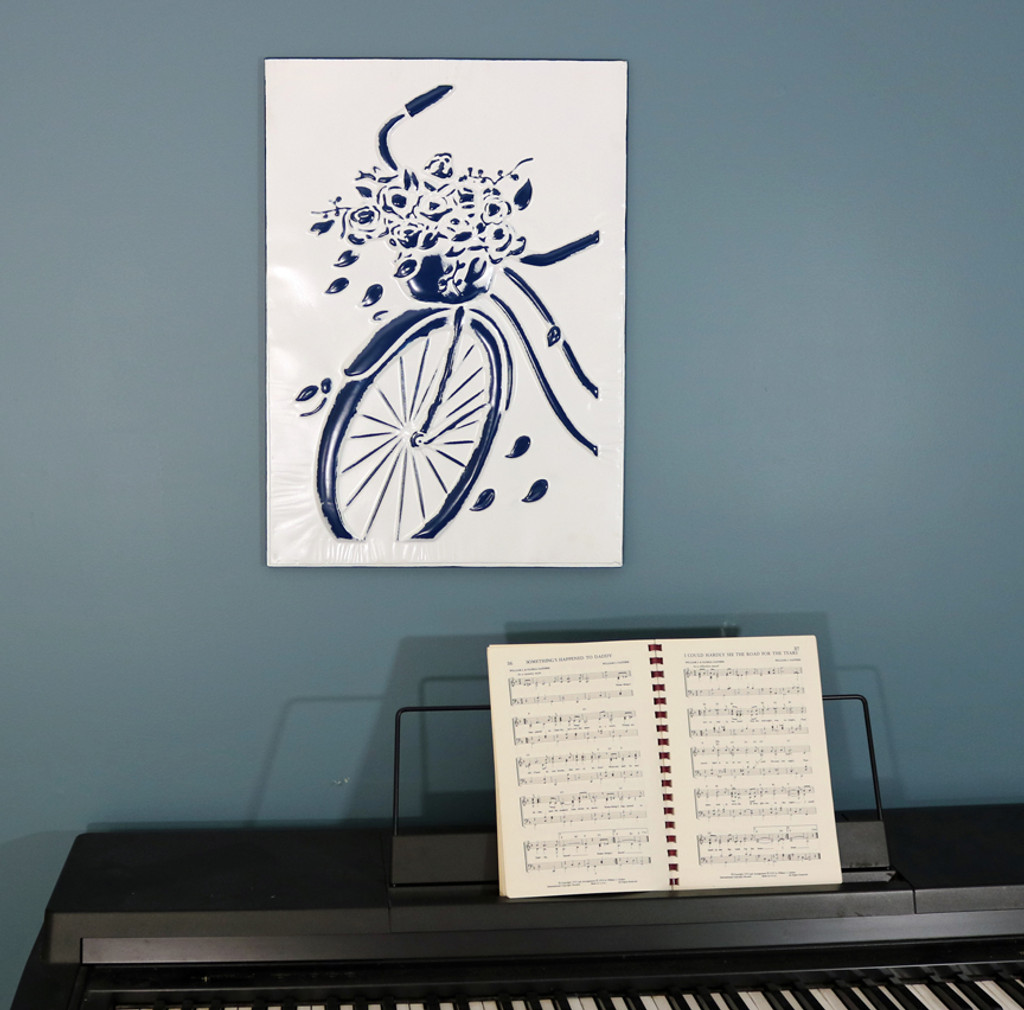 Blue and White Enamel Bike Wall Art