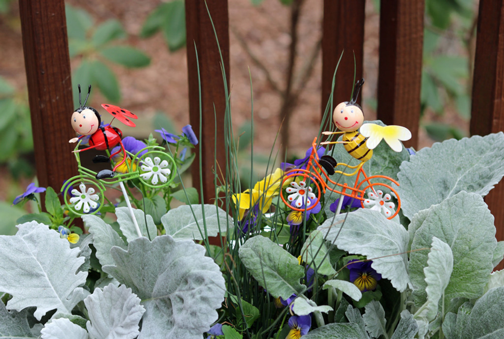 Bugs on Bikes Small Garden Plant Stakes