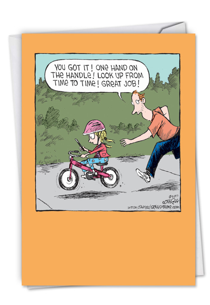 Humorous Bike Lesson Fathers Day Card
