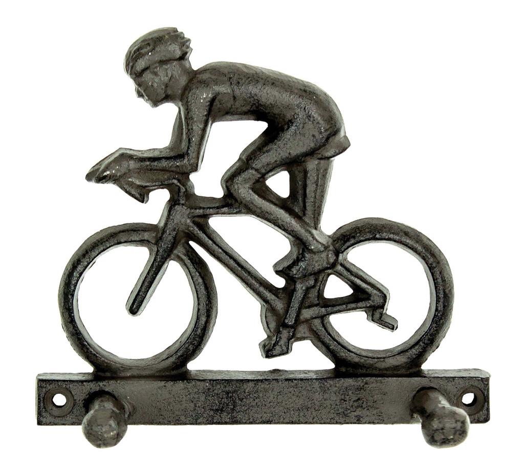 Bike Rider Cast Iron Key Hook