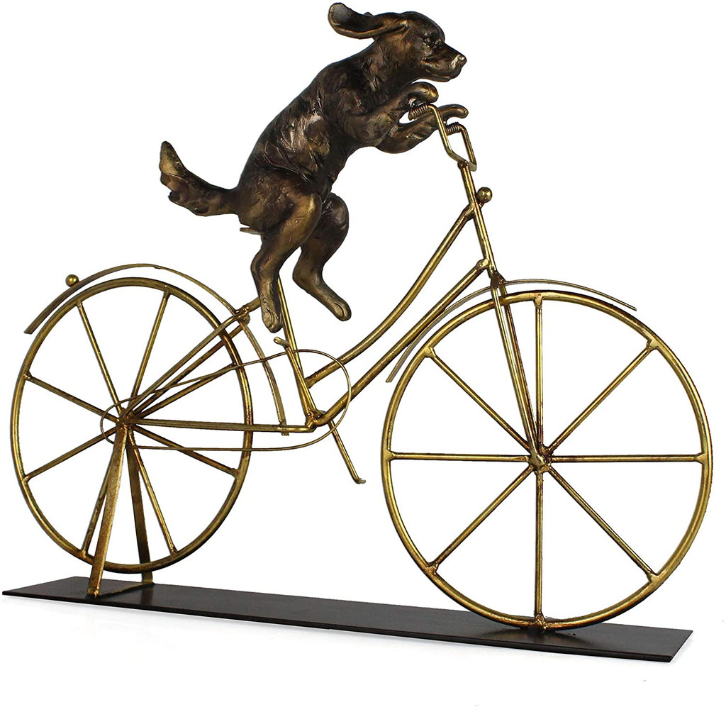 Canine Cyclist Bike Sculpture