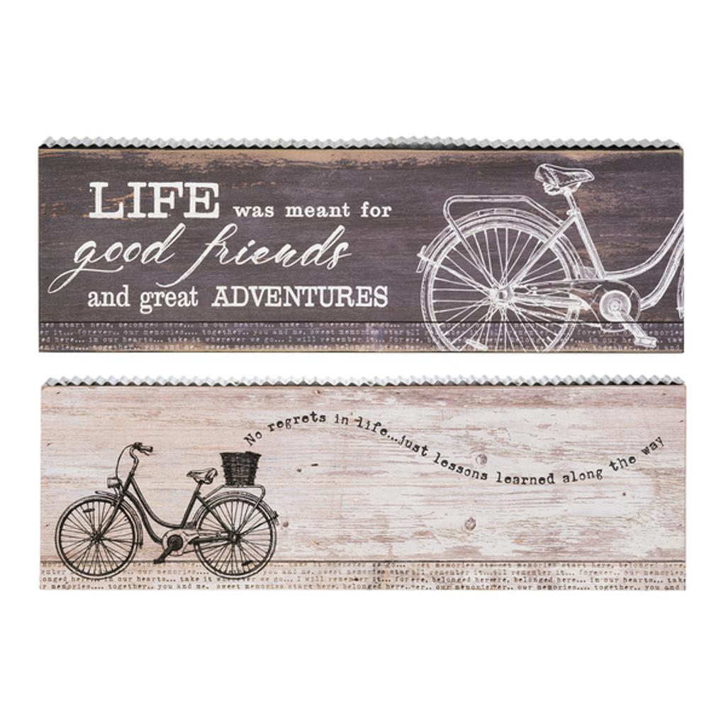 Urban Wood and Metal Bicycle Signs 2 designs