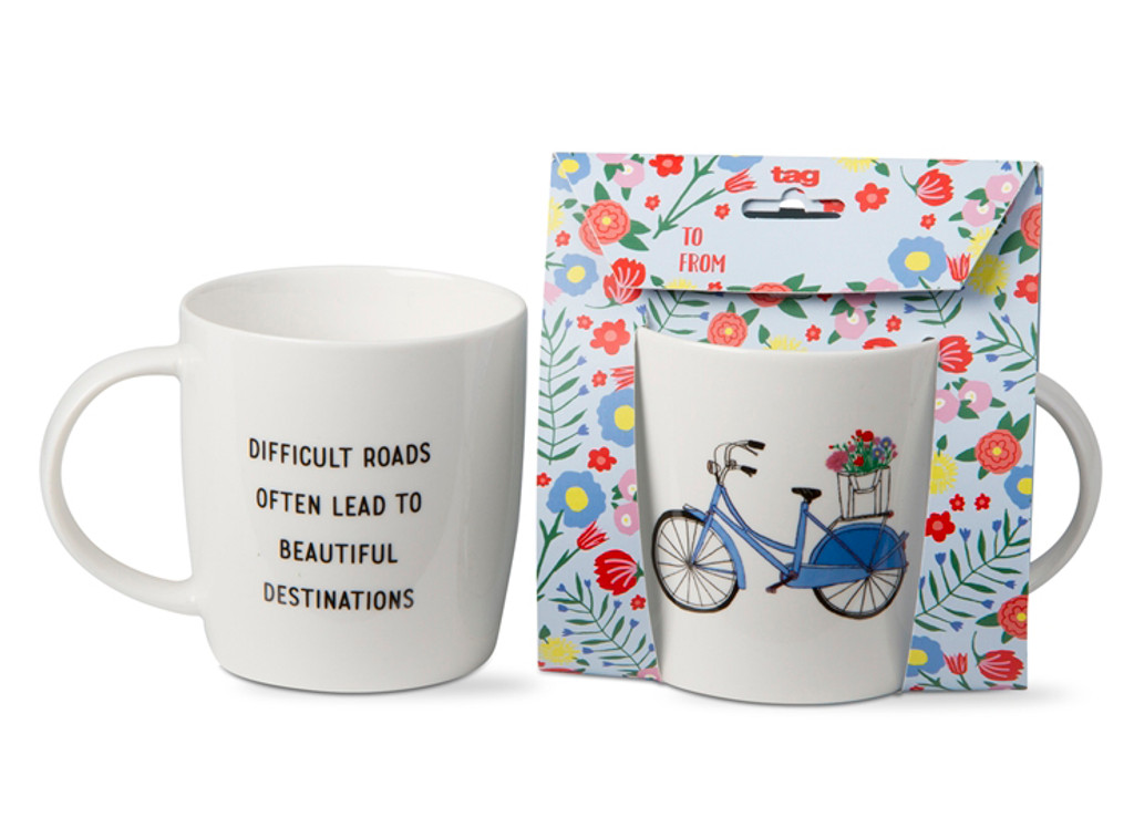 Difficult Roads to Beautiful Destination Giftable Bike Mug