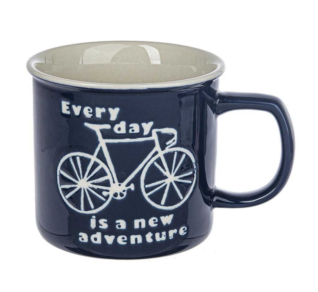 Deep Blue Glazed Bicycle Mug 2 designs