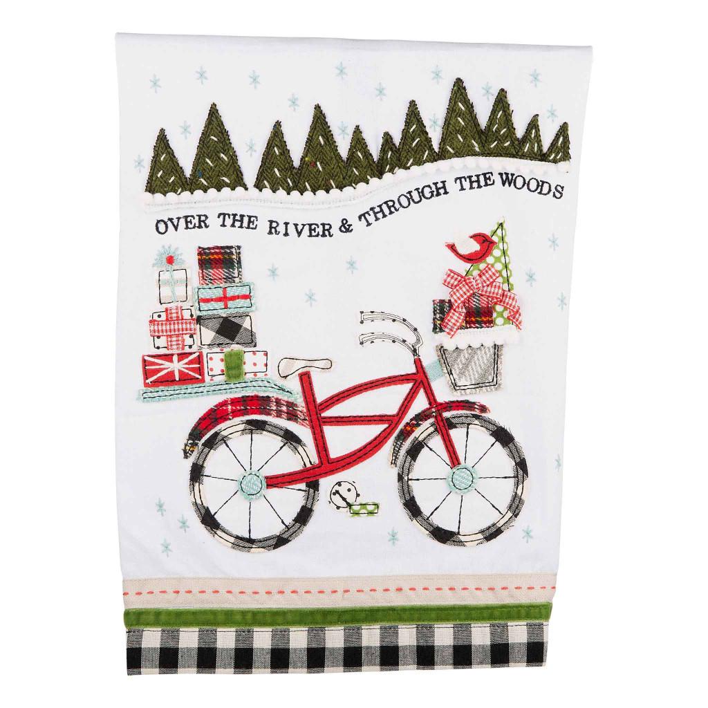 Over the River Applique Christmas Bike Towel