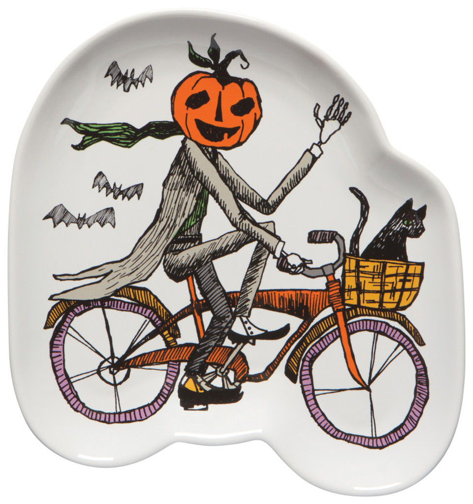 Pumpkin Head Cyclist Shaped Plate