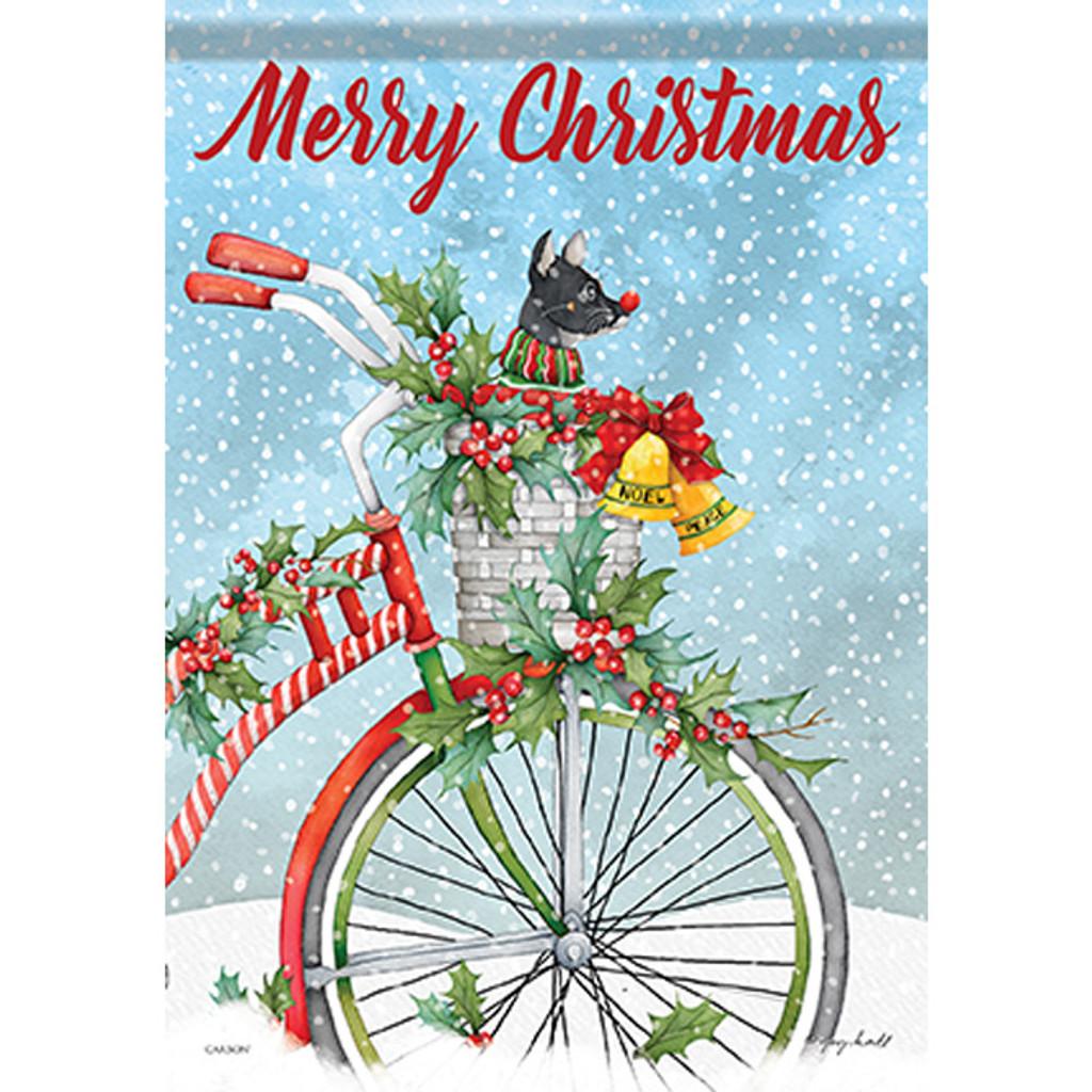 Merry Christmas Winter Bike Garden Flag