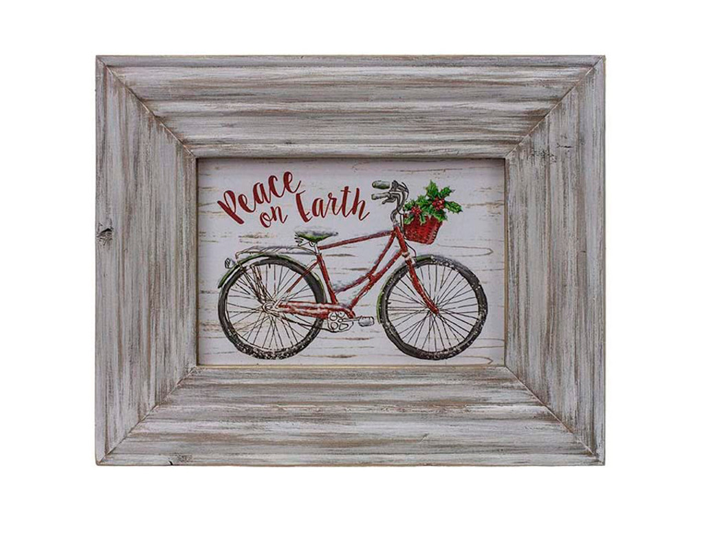 Peace on Earth Bicycle Framed Art