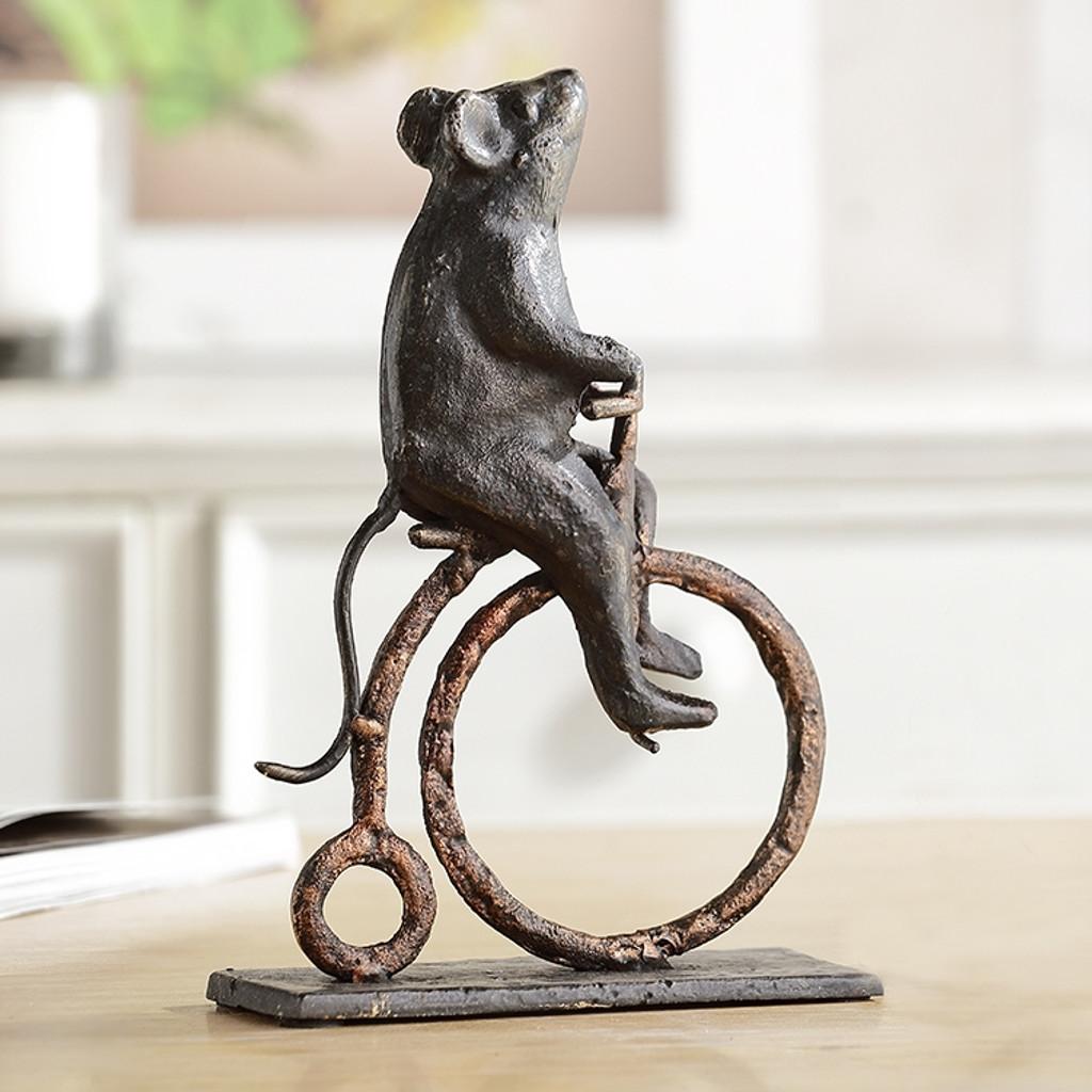 Mouse on High Wheel Vintage Bike