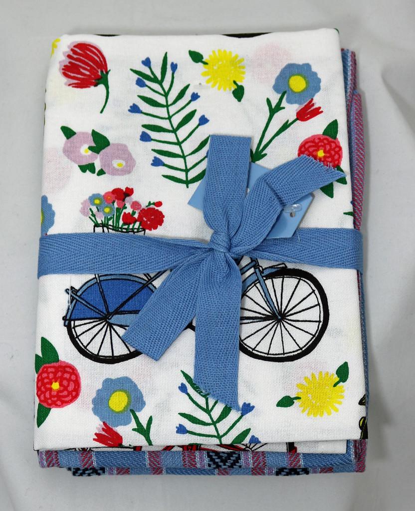 Floral bike kitchen towel set of 2