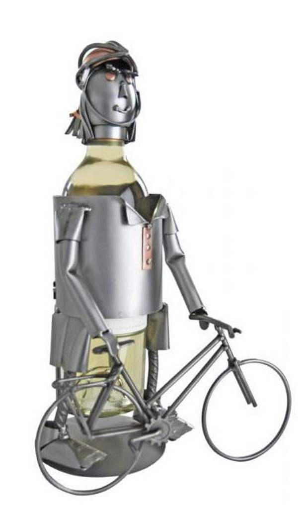 Female Cyclist Steel Wine Caddy
