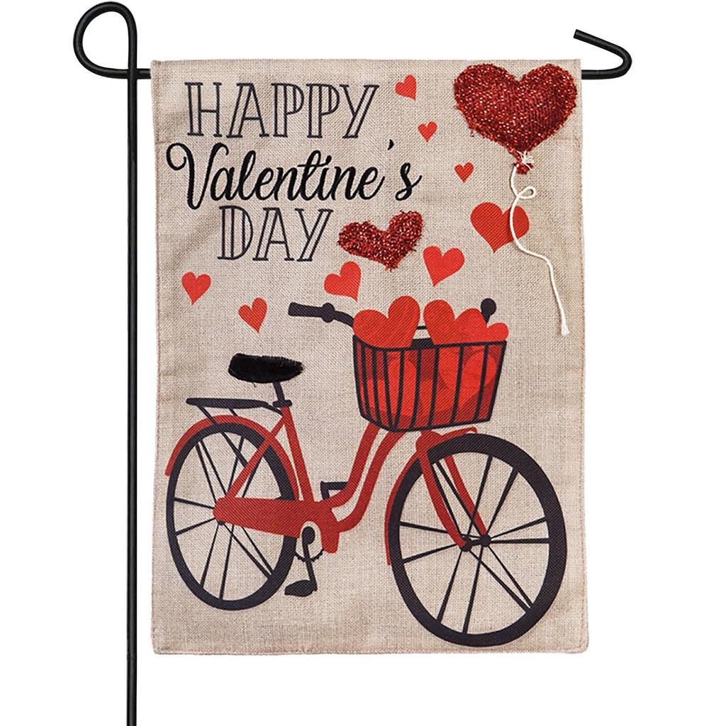 Valentine's Day Bicycle Burlap Flag