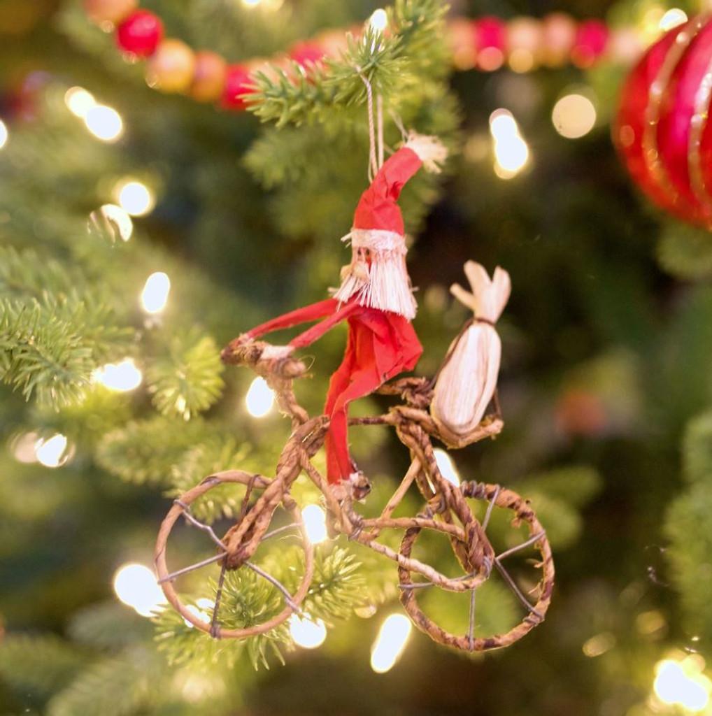 Kenyan Banana Leaf Santa Bicycle Ornament