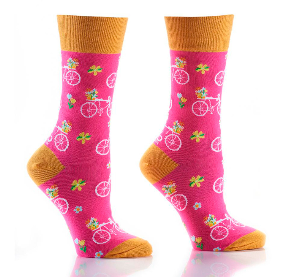 Womens Colorful Pink Bicycle Socks