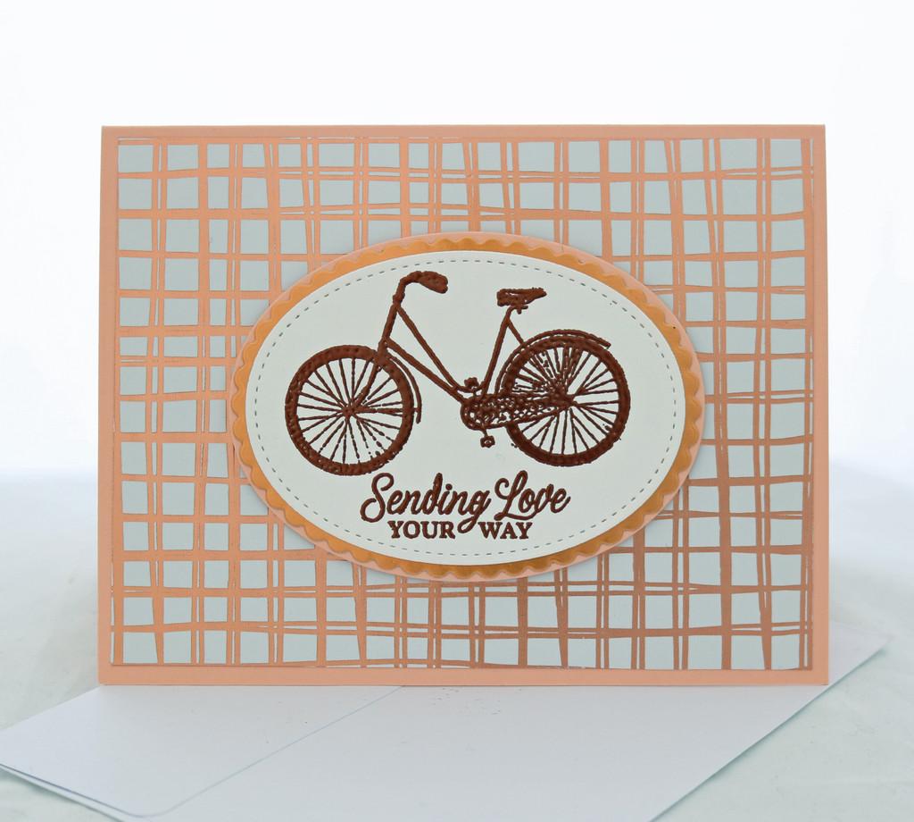 Sending Love Embossed Rose Gold Bicycle Valentine Card