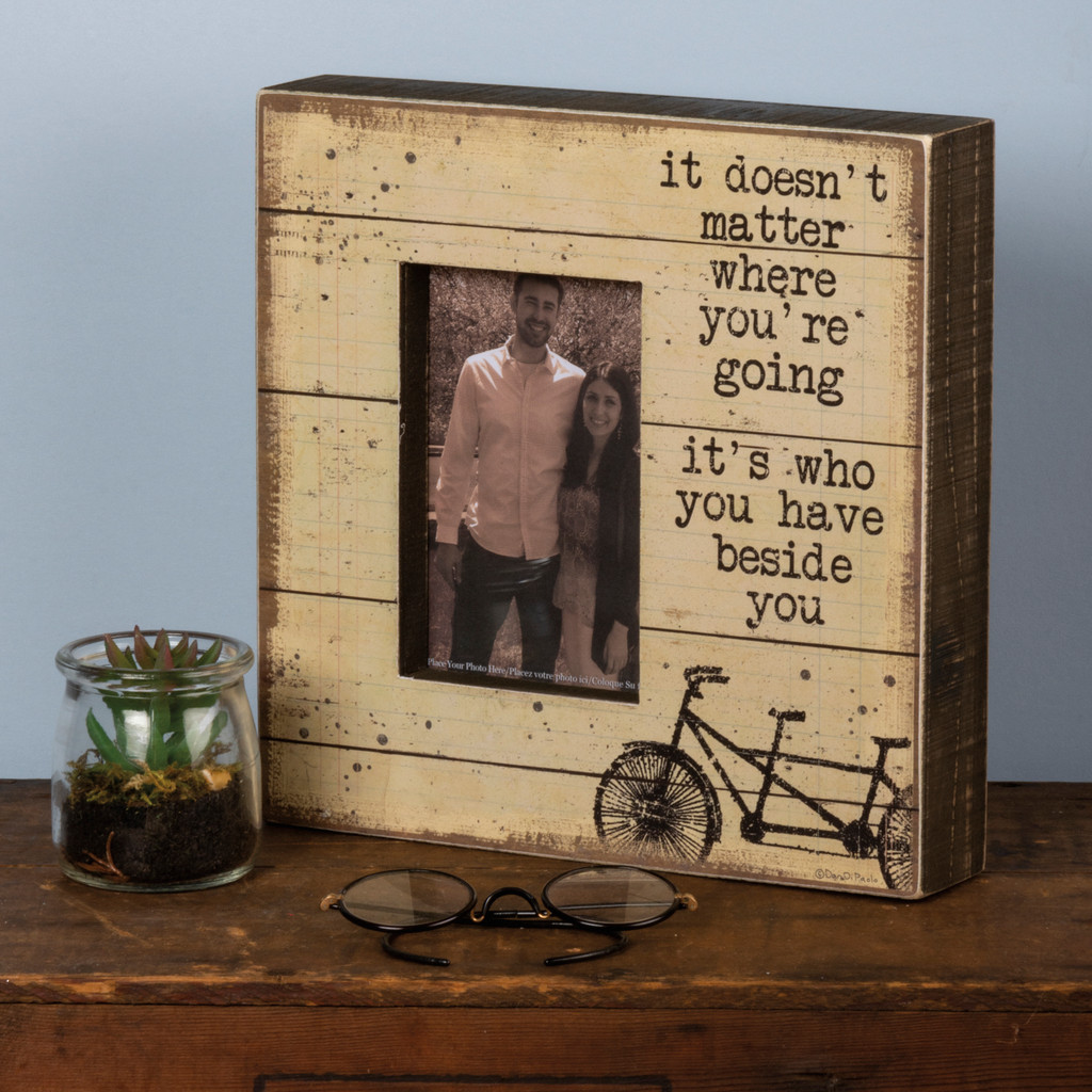 Distressed Tandem Bicycle Picture Frame